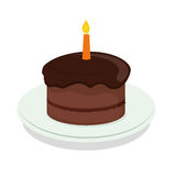 Birthday cake icon. Birthday cake with candles icon over white background. colorful design. vector illustration Stock Images