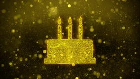 Birthday Cake Icon Golden Glitter Shine Particles. Birthday Cake Icon Golden Glitter Glowing Lights Shine Particles. Object, Shape, Web, Design, Element, symbol stock video