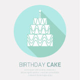 Birthday cake icon with long shadow,. With burning candles Stock Photos