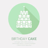 Birthday cake icon with long shadow,. With burning candles Stock Photo