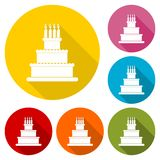 Birthday cake icon with long shadow set. Vector icon Stock Photos