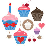 Birthday cake. Icon set Royalty Free Stock Photos