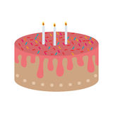 Birthday cake icon. Birthday sweet cake dessert with candles over white background. vector illustration Stock Image