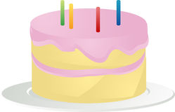 Birthday cake illustration. Birthday cake with pink icing and candles, 3d isometric illustration Stock Photo