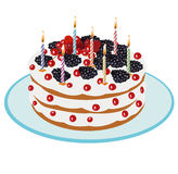 Birthday Cake - Illustration. Beautiful cake with candles on birthday- Illustration Royalty Free Stock Photos