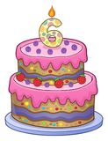 Birthday cake image for 6 years old. Eps10 vector illustration stock illustration
