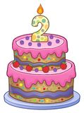 Birthday cake image for 2 years old. Eps10 vector illustration stock illustration