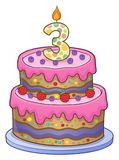 Birthday cake image for 3 years old. Eps10 vector illustration stock illustration