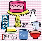 Birthday cake and ingredients on table with pink i Royalty Free Stock Photo