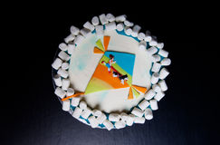 Birthday cake with inscription 'Happy birthday, Juliana' on blue background Stock Image
