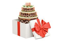 Birthday Cake inside gift box, 3D rendering. On white background Royalty Free Stock Photo