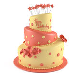 Birthday cake isolated. At the white background Royalty Free Stock Photography