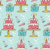 Birthday cake kawaii background royalty free illustration