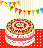 Of a birthday cake with kiwi and strawberries Stock Photography