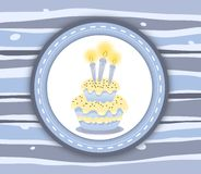 Birthday cake label card - stripey blue background Royalty Free Stock Photos