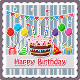 Birthday cake label vector illustration