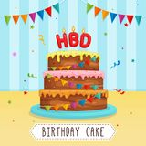 Birthday Cake with Letter Candle with Party Ribbon Decoration and Confetti Illustration. Vector EPS10 Stock Photos