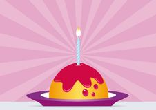 Birthday Cake with Lighted Candle. All elements are on separate layers and can be easily edited Stock Photo