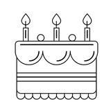 Birthday cake vector line icon. Stock Images