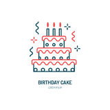 Birthday cake line icon. Vector logo for bakery, party service. Tasty torte thin linear symbol for event agency. Linear Royalty Free Stock Photography