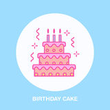 Birthday cake line icon. Vector logo for bakery, party service. Tasty torte thin linear symbol for event agency. Linear Stock Photo