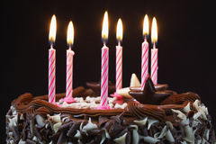 Birthday Cake With Lit Candles Royalty Free Stock Image
