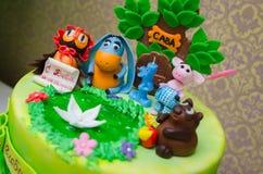 Birthday cake mastic for a child Stock Photos