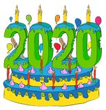 Birthday Cake With New Year Number 2020 Candle, Celebrating 2020 New Year, Colorful Balloons and Chocolate Coating Stock Photo