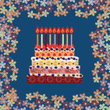 Birthday cake with nine candles. Nine years Stock Images