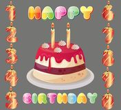 Birthday cake with number candle. Collection Royalty Free Stock Image