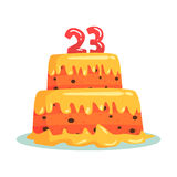 Birthday cake with number 23, celebration party symbol cartoon vector Illustration Stock Photography