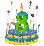 Birthday Cake With Number Eight Candle, Celebrating Eighth Year of Life, Colorful Balloons and Chocolate Coating Royalty Free Stock Images