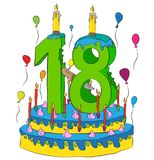 Birthday Cake With Number Eighteen Candle, Celebrating Eighteenth Year of Life, Colorful Balloons and Chocolate Coating. Birthday Cake With Number Eighteen Stock Photo