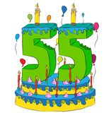 55 Birthday Cake With Number Fifty Five Candle, Celebrating Fifty-Fifth Year of Life, Colorful Balloons and Chocolate Coating Royalty Free Stock Photos