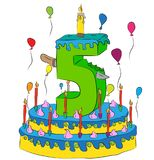 Birthday Cake With Number Five Candle, Celebrating Fifth Year of Life, Colorful Balloons and Chocolate Coating. Birthday Cake With Number Five Candle Royalty Free Stock Photography