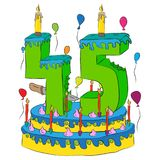 45 Birthday Cake With Number Forty Five Candle, Celebrating Forty-Fifth Year of Life, Colorful Balloons and Chocolate Coating Royalty Free Stock Photos
