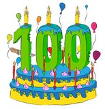 100 Birthday Cake With Number Hundred Candle, Celebrating Hundredth Year of Life, Colorful Balloons and Chocolate Coating. 100 Birthday Cake With Number Hundred stock illustration