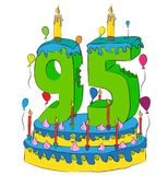 95 Birthday Cake With Number Ninety Five Candle, Celebrating Ninety-Fifth Year of Life, Colorful Balloons and Chocolate Coating Stock Photo