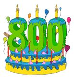 800 Birthday Cake With Number Seven Hundred Candle, Celebrating Seven Hundredth Year of Life, Colorful Balloons and Chocolate Coat Stock Photos