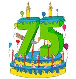 75 Birthday Cake With Number Seventy Five Candle, Celebrating Seventy-Fifth Year of Life, Colorful Balloons and Chocolate Coating Royalty Free Stock Photography