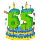 65 Birthday Cake With Number Sixty Five Candle, Celebrating Sixty-Fifth Year of Life, Colorful Balloons and Chocolate Coating Stock Photography