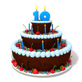 Birthday cake with number ten 3d illustration Stock Photo