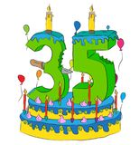35 Birthday Cake With Number Thity Five Candle, Celebrating Thirty-Fifth Year of Life, Colorful Balloons and Chocolate Coating. 35 Birthday Cake With Number Royalty Free Stock Photo