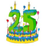 Birthday Cake With Number Twenty Five Candle, Celebrating Twenty-Fifth Year of Life, Colorful Balloons and Chocolate Coating Royalty Free Stock Images