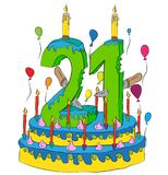 Birthday Cake With Number Twenty One Candle, Celebrating Twenty-First Year of Life, Colorful Balloons and Chocolate Coating. Birthday Cake With Number Twenty One Royalty Free Stock Photo