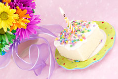 Birthday Cake with One Candle Royalty Free Stock Photo
