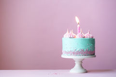 Birthday cake. With one candle Stock Image