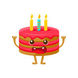 Birthday Cake WIth One Candle, Happy Birthday And Celebration Party Symbol Cartoon Character Stock Images