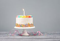 Birthday Cake with one Candle royalty free stock photos