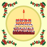 Birthday cake with one candle Royalty Free Stock Image